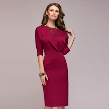 Buy Women Dress 2018 New Fashion Half Sleeve O-Neck Elegant Knee-Length Casual Office Dresses Female Autumn Bodycon Dress for $7.99 in AliExpress store
