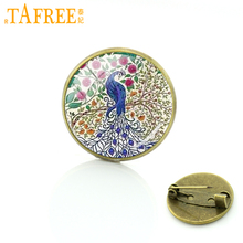 TAFREE A graceful and noble Peacock Brooch Flower of Life Pins round Glass Antique bronze plated fashion novelty jewelry H306