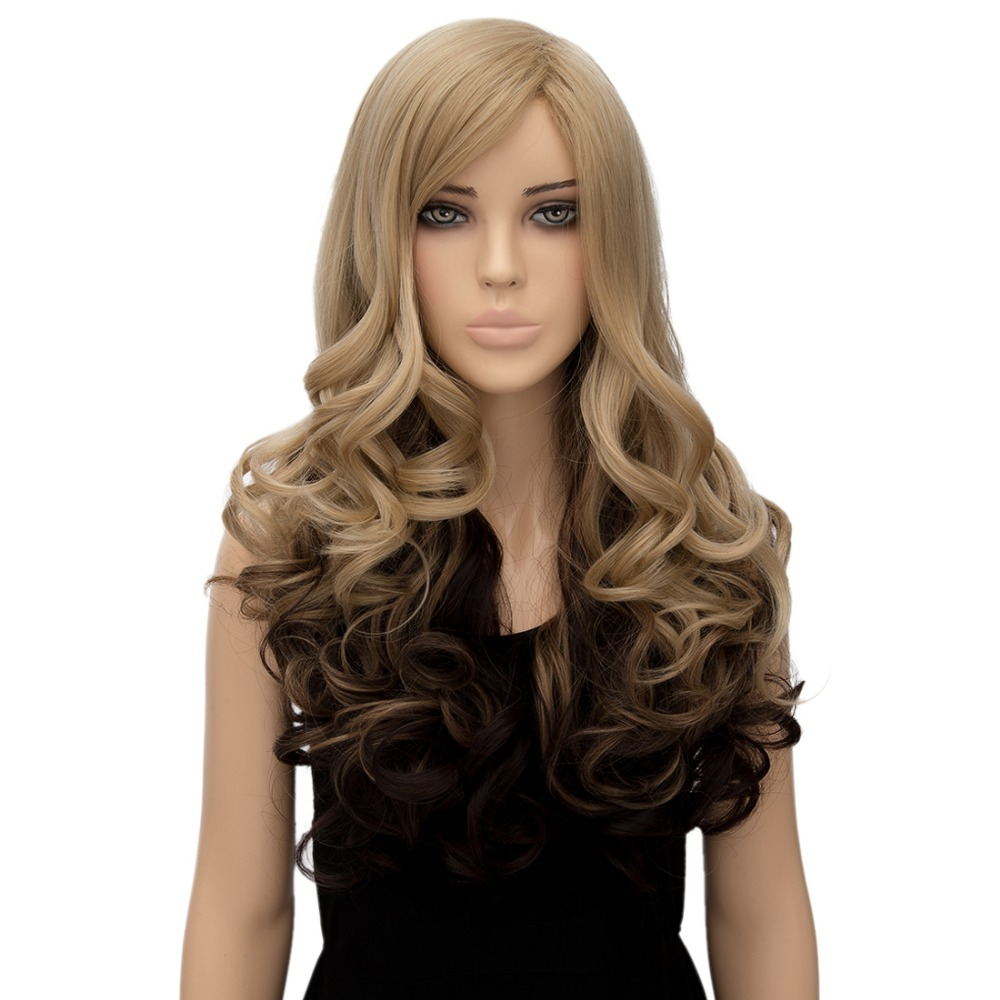 Full Hair Women Cosplay Party Flaxen Ombre Brown Long Curly Wavy Synthetic Wigs<br><br>Aliexpress