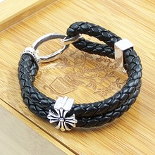 Double Plaited Leather Cross Bracelets Good Jewelry For Men Thomas Style Rebel New Brand Friendship Bracelets TS Gifts Jewelry