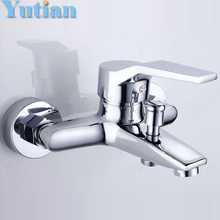Free shipping Polished Chrome Finish New Wall Mounted shower faucet Bathroom Bathtub Handheld Shower Tap Mixer Faucet  YT-5339-A