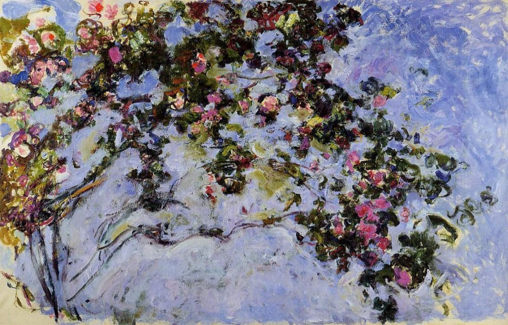 Hand-painted-Monet-reproduction-of-The-Rose-Bush-Custom-art-photo-on-canvas-pictures-into-canvas