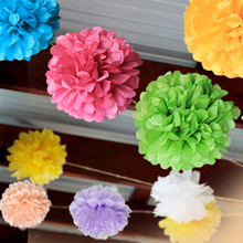 "5PCS Multi Color 8"" 20cm Paper Flowers Kissing Ball Wedding Home Birthday Party&Wedding Car Decoration DIY Tissue Paper Pom Poms(China)"