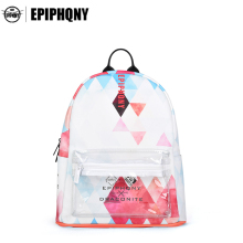 Epiphqny Famous Brand Women Small Geometry Backpack School Printing Packbag PU Leather Travel Bag with Transparent Pocket 51282(China)