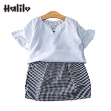 Girls Summer Sets 2017 Girl Boutique Outfit Short Sleeve T-shirt + Skirt 2pcs Children's Set Kids Clothing Girls Clothes Suits