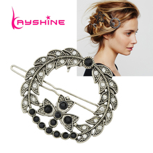 Kayshine Vintage Hair Jewelry Antique Silver Color with Rhinestone and Black Beads Flower Hairgrips Hairwear Accessories(China)