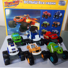 6pcs/set Blaze Monster Machines Russia blaze miracle cars Toys Vehicle Car Transformation Toys random send with kids blaze car