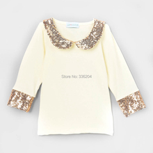 baby girls Sparkle Sequins Peter Pan Collar Shirt pink Bubbles Gold(China)