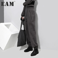 [EAM] 2018 new spring high waist hollwo out bandage black gray loose leisure pants women trousers fashion tide JD61801(China)