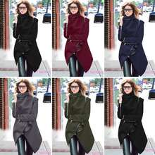 Spring autumn women's fashion JACKET Europe United States New irregular lapel Coat Long-Sleeved Wool Jacket Slim-type jacket(China)