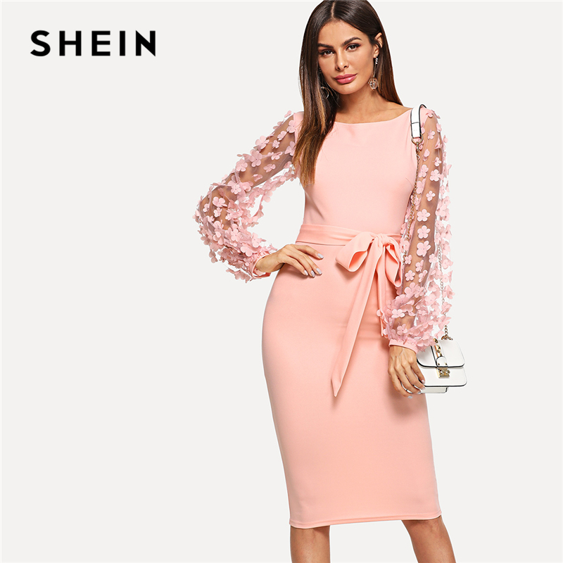 SHEIN Pink Elegant Party Flower Applique Contrast Mesh Sleeve Form Fitting Belted Solid Dress 2018 Autumn Women Casual Dresses
