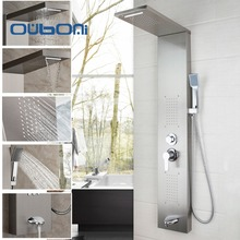 Contemporary Bathroom Faucet Tap Rainfall Shower Panel Rain Massage System Faucet with Jets Hand Shower Brushed Shower Column