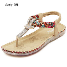 High quality 2016 Summer Flat Shoes Women Beach Sandals Thongs Slippers Flip Flops Big Size 35 - 41(China)