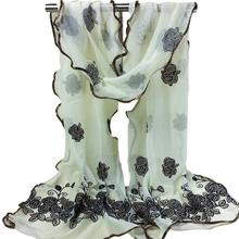 Women Vintage Scarf Lace Gauze Rose Flower Veil Scarves Shawl Wrap BK