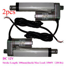 2X Stroke 100mm=4 inches/ 12V/ 1500N=150KG 330lbs Mini Electric Linear Actuator Linear Tubular Motor Motion