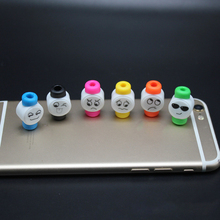 10pcs/lot Cute Face USB Charger Cable Protector Colorful Earphones USB Data Cable Cover For iPhone Samsung HTC Free shipping