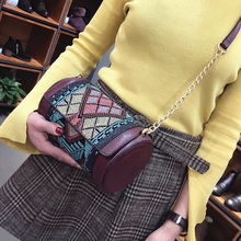 Ethnic bag vintage leather handbag India style Cylindrical bag fashion messenger bags small shoulder crossbody bags new(China)