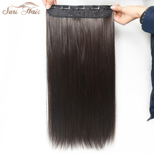 Suri Hair Straight Synthetic Clip On Hair Extension Women Hair Pieces 5 Clips 24inch 6 Colors Avalible(China)