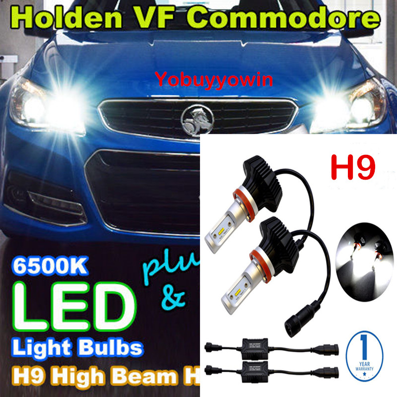 Pair H9 6500K HID White8000Lm For Philips Lumiled ZES Chip 80W LED For Holden/HSV VF Commodore High Beam Headlights Bulbs DRL<br>