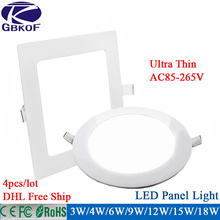 4PCS/pack led down light 3w 4w 6w 9w 12w 15w 18w led ceiling recessed grid downlight slim Round Square led panel light free ship