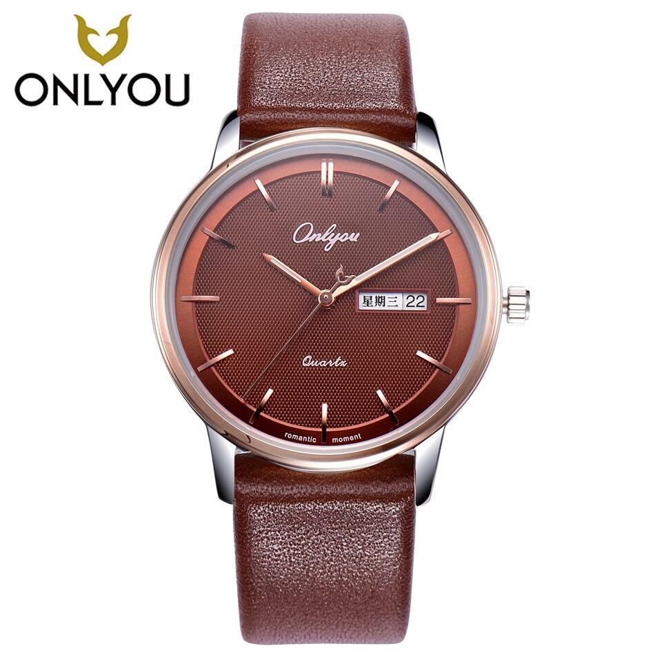ONLYOU Mens Watch Women Unique Fashion Leisure Quartz Watches Band Brown Watch Male Clock Ladies Dress Wristwatch Black Men <br>