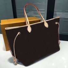 top quality neverfull monogram women shoulder bag canvas shopping bag light red line handbag tote with wallet