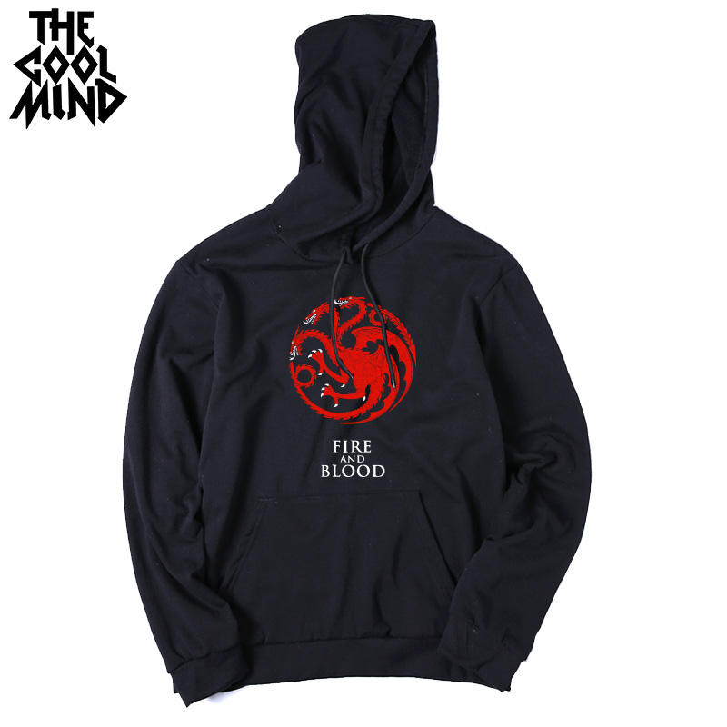 THE COOLMIND Top quality cotton blend game of thrones men hoodies casual winter is coming house of stark men sweatshirt with hat 13