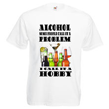 2017 Fashion Men'S  Alcohol Problem Funny T Shirt Beer Wine Ale Hobby Parody 2017  Design T Shirt Cool Tops