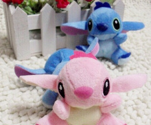 Kawaii 7*6CM Lovers Lilo Stitch Plush Stuffed TOY Small Charm Strap Pendant Plush DOLL BAG Key Chain TOY Bouquet Doll