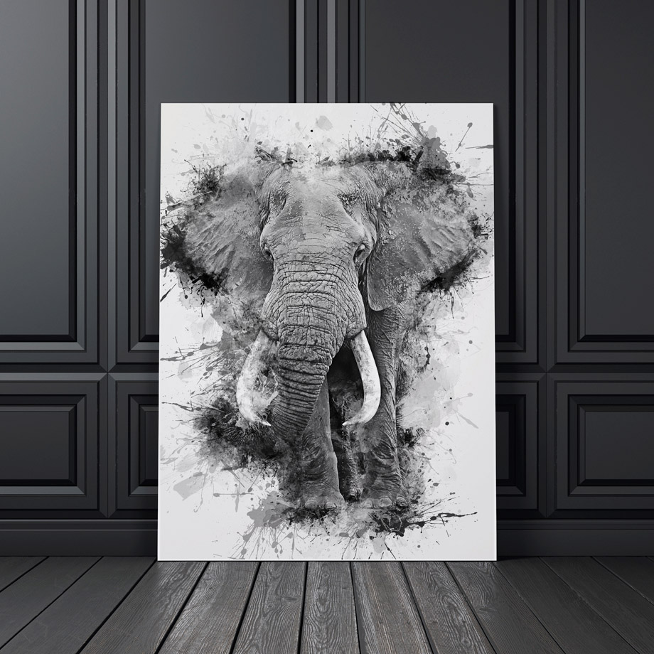 Home Decor Art wall Animal oil painting Print on canvas Black and white elephant