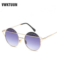 VWKTUUN Round Sunglasses Women Men Alloy Frame Sun Glasses For Women Flower Decoration Oversized Sunglasses Vintage Goggles
