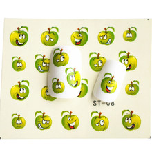 1 sheet Funny Green Apple Water Transfer Foil Nail Art Sticker DIY Manicure Decorations Decals Nails Wraps Styling Tools SASTZ08
