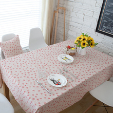 Hot New Year Christmas Red Snowflake Printed Cotton Linen Rectangle Tablecloths PC Tea Table Cloth Cover Kitchen Party Decor