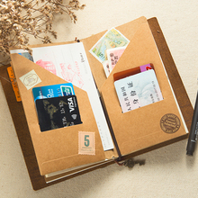 Moterm Kraft paper File holder For Traveler Notebook Accessory Vintage Retro card pocket storage Standard/Pocket/Passport(China)