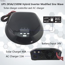 modified sine wave 2000VA/1500W hybrid inverter 24v dc to 230v ac with solar charger controller and AC charger
