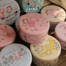 Size: dia.135x65mm Chalybeate small circle cookies biscuits candy gift pehcans storage box christmas tin(China)