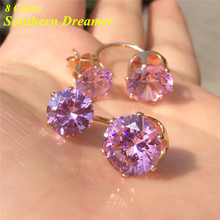 Southern Dreamer Trendy Pink Stones CZ Earrings For Womens Round Blue Cubic Zirconia Black Crystal Gold Double Studs Earings Red