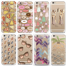 Hot Ultrathin Soft TPU Phone Cases for iPhone 6 6s Case Cute Cartoon Ice Cream Pizza Donuts Fruit Tower Beach Mobile Phone Cover