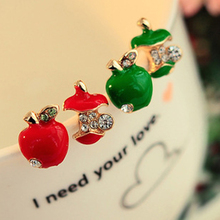 Vivid Defective Red Green Apple Decorating Crystal Golden Stud Earrings for Women piercing Jewelry(China)