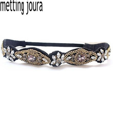 Metting Joura Women Girls Bohemian Vintage Punk Metal Seed Beads Rhinestone Braided Knitted Flower Headbands Hair Accessories(China)