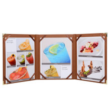 50pcs/lot Support Customized Restaurant Menu Covers Brown Color Menu List Holders Coffee List Folder Menu Book A4 Size