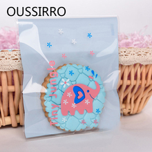 50PCS Elephant Self-adhesive Plastic Cookie Packaging Bags For Jewelry Food Snack Baking Pastry Package Bolsas De Regalo
