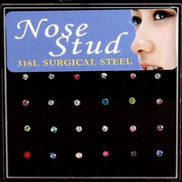 24pcs nose stud Ring Fashion Body Jewelry Nose Stud Stainless surgical steel nose piercing Crystal Stud burun piercing