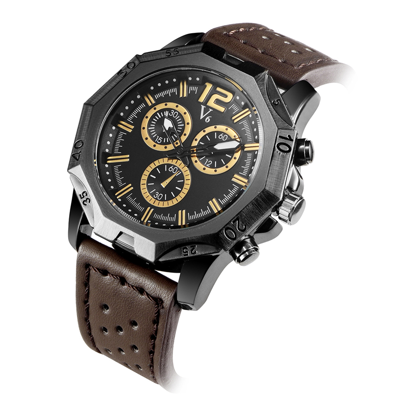 2017 V6 Brand Casual Mens Watches Leather Waterproof Business Fashion Style Quartz Watch Men Sport Military Army Wristwatch<br><br>Aliexpress