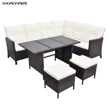 iKayaa Brown Set poly rattan garden furniture For 8 persons Garden Set ES Stock