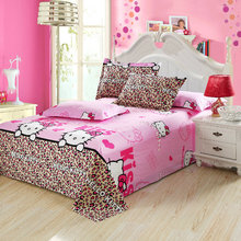 Hello kitty flat sheet bedding twin full queen king size cotton bed sheet bed linens pillowcase cartoon kids adults Home textile