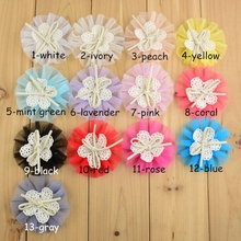 "130pcs/lot 3"" Tulle Mesh Flowers With Cute Bow Center Flat Back DIY Accessories For Grament Hat Fabric Flower For Headband(China)"