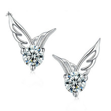2016 Bridal Lady Korea Fashion Silver Jewelry Angel Wings Crystal Earrings Earrings Exquisite Female Fashion Earrings