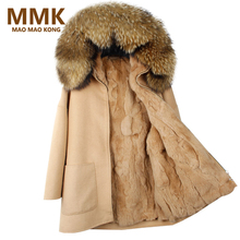 MAO MAO KONG 2017 New Winter Parka Wool Cashmere Coat Women Fur Jacket Overcoat Collar Hooded Rex Rabbit Fur liner Top Quality(China)