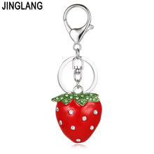 JINGLANG Fashion Silver Color Lobster Clasp Keyring Crystal 3D Strawberry Charms Keychains For Women Handbag Jewelry(China)